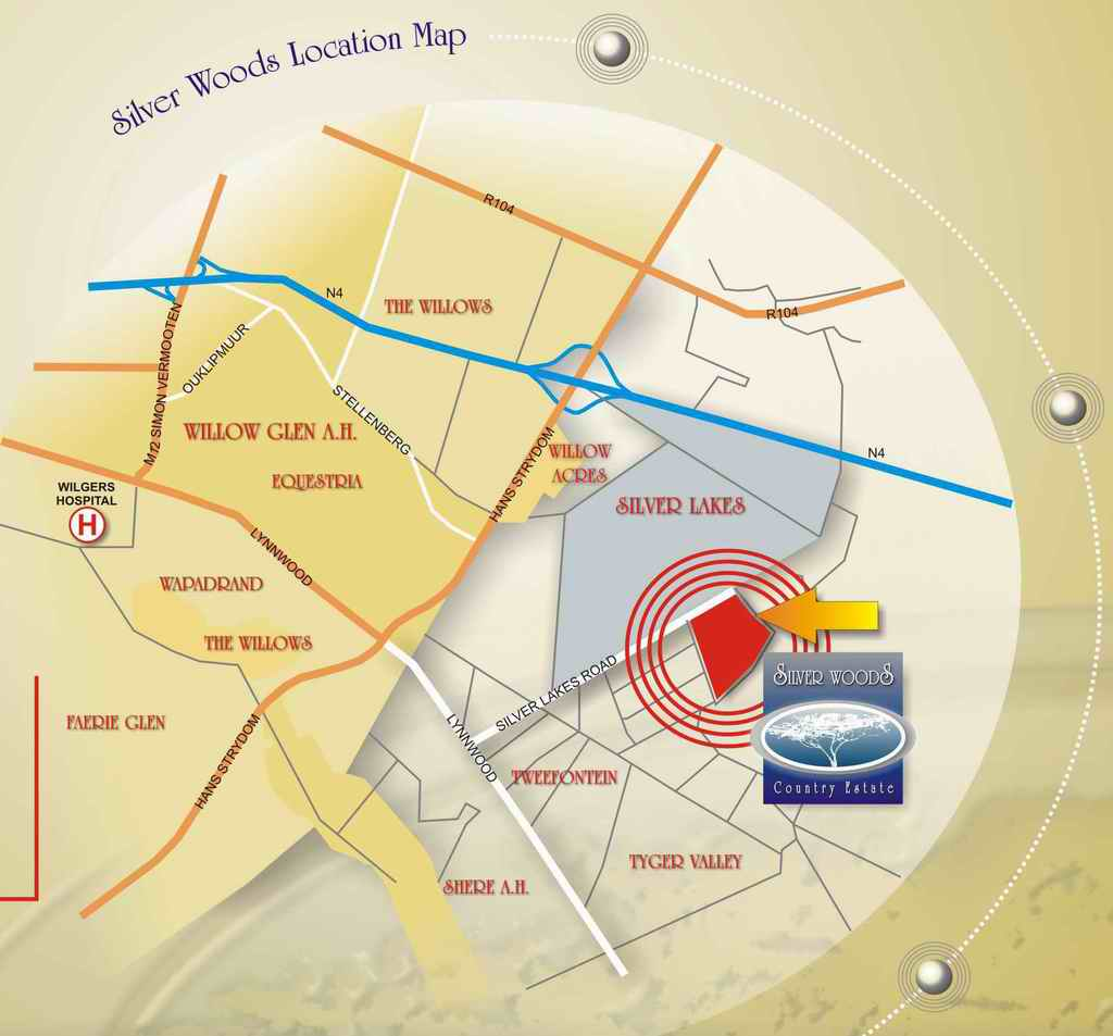 A map of the area surrounding Silver Woods Country Estate. We are situated near the Wilgers Hospital, the N4 highway and numerous shopping centres